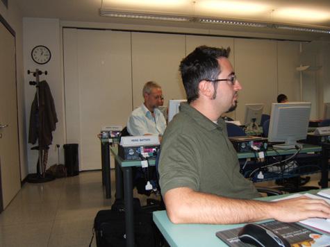 Heinz Battisti e Alex Vettori (in primo piano), durante un momento del Corso