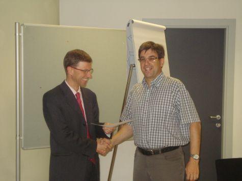Rainer Steger e Markus Ritsch della filiale di Solda della Cassa Raiffeisen di Prato allo Stelvio