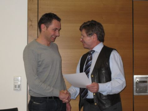 Stephan Chiogna della Cassa Raiffeisen di Laives con Franz Zuckerstätter