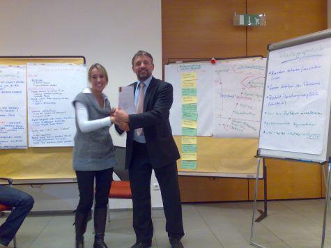 Bettina Larcher, di Bolzano, con il docente Luciano Fiori