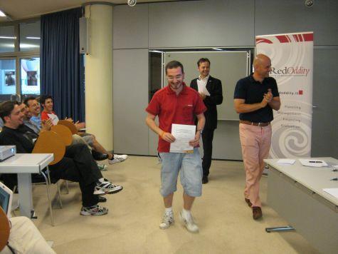 Sulla Fuga di Oscar, un applauso da Christian Strappazzon, tutor tecnico del corso Java Developer, da Paolo Perrotta e Alessandro Negrin, docenti di Java in entrambi i corsi